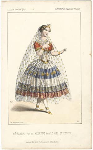 Hand-coloured lithograph by Destouches of Mlle. Périgat in the role of Mélusine in the play Le Ci...