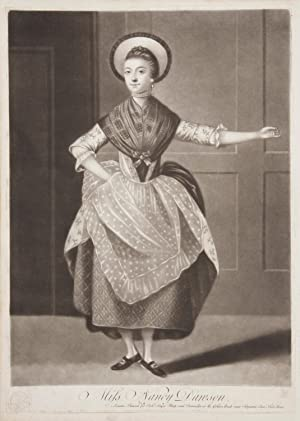 Original mezzotint engraving by Michael Jackson of Dawson performing her famous hornpipe dance. A...