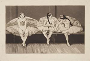 Etching with wash of three young ballet dancers sitting on a bench at rest in the studio