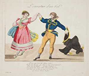 L'ouverture d'un bal. Original hand-coloured engraving