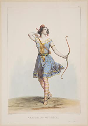 Amazone au VIIIème Siècle. Large hand-coloured lithograph by Cattier after Achille Devéria (1800-...
