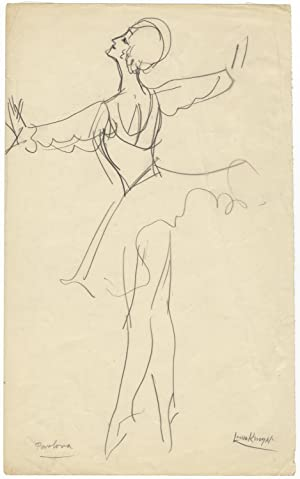 Original drawing in graphite on paper of Anna Pavlova en pointe. Signed in full by the artist at ...