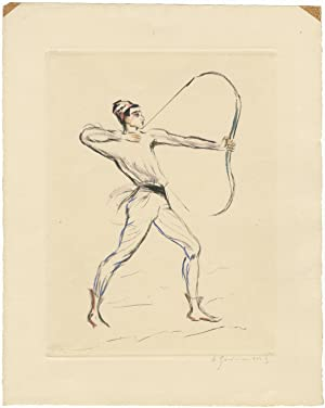 Original hand-coloured etching of Frohman from the Polovtsian Dances from Prince Igor