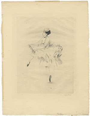Original etching of Karsavina dancing the polka in the ballet Les Vendredis