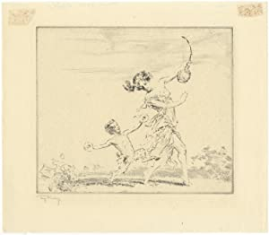 Original etching depicting a dancer holding a stringed instrument with a small satyr dancing alon...