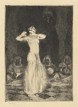 Original etching of Niles performing at Radio City Music Hall in ca. 1934 in Eastern dress, with ...