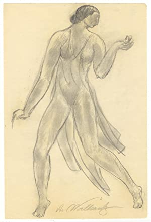 Original full-length pencil drawing of Duncan in a dance pose by the American modernist artist Ab...