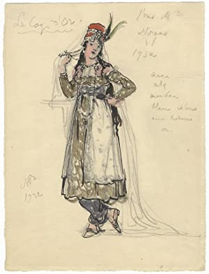 Original costume design for Rimsky-Korsakov's opera Le Coq d'Or by the noted Russian artist Alexa...