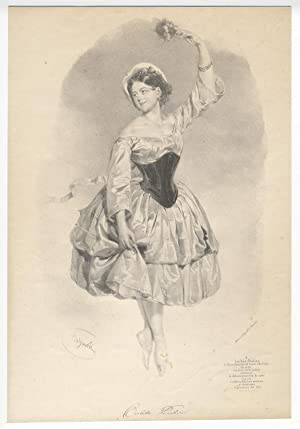 Original lithograph of the Italian ballerina en pointe by Bignoli