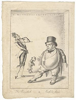 Lithographic caricature featuring a dancing master playing his violin while a portly gentleman dr...