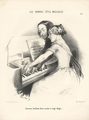 Exécution brillante d'une sonate à vingt doits. Lithograph of a young lady at the piano by Frédér...