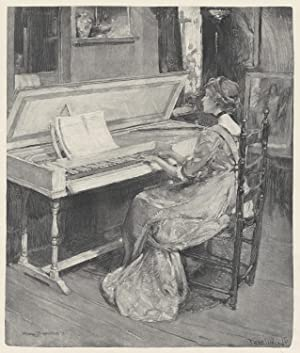 Wood engraving of a young woman playing a spinet by Frank H. Wellington (1858-1911) after Harry T...