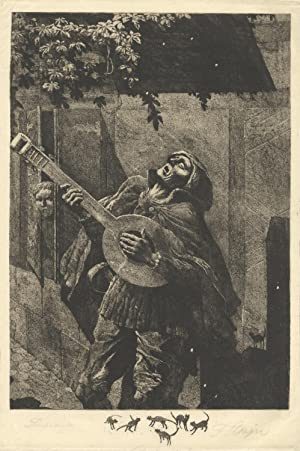 Etching and aquatint of the character Beckmesser in Wagner's opera Die Meistersinger von Nurnberg...