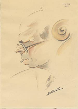 Original bust-length portrait drawing of the famed Catalan cellist in profile with 'cello scroll ...