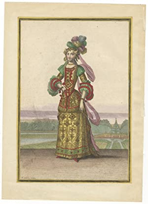 Hand-coloured engraving of a costume design for a female dancer at the Paris Opéra