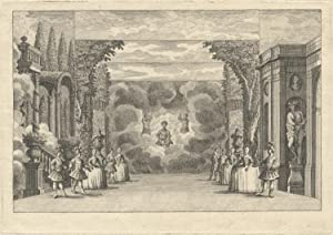 Engraving of a scene from an unidentified ballet performance. France, first half of the 18th century