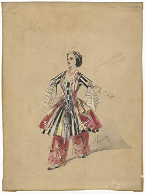 Original watercolour and gouache drawing of Richard in an unidentified ballet. From the collectio...