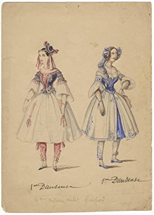 Two original watercolour costume designs on one sheet. Unsigned and undated, but ca. 1830-1840