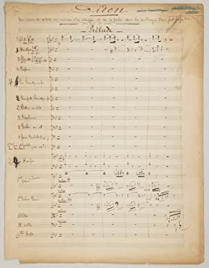 Didon. A lyric cantata for three voices and orchestra. Autograph musical manuscript of the revise...