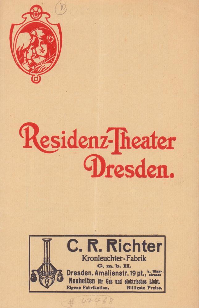 residenz theater dresden programmheft sonntag den 15 november das modell operette in 3. Black Bedroom Furniture Sets. Home Design Ideas