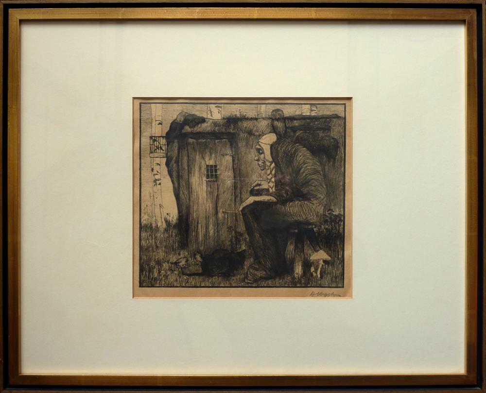 Die Hexe mit Eule. Original-Radierung. Vogeler, Heinrich - Vogeler, Heinrich.