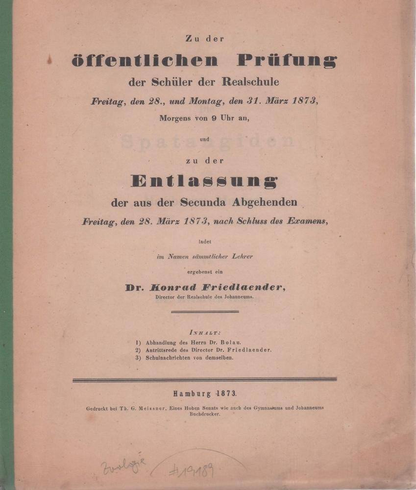 Die Spatangiden des Hamburger Museums.: Bolau, Heinrich.