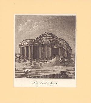 Die Insel Staffa. Aquatinta-Kupferstich von Schindelmayer.