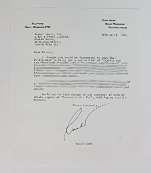 TYPED LETTER SIGNED FROM ROALD DAHL TO: DAHL, Roald; UNWIN,
