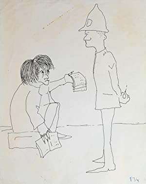 SAD MICHAEL. An original drawing, published in his first book IN HIS OWN WRITE.: Lennon, John