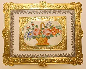 Biedermeier Kunstbillet. Basket with flowers in many colours, with text 'Mit Blumen will ich ...