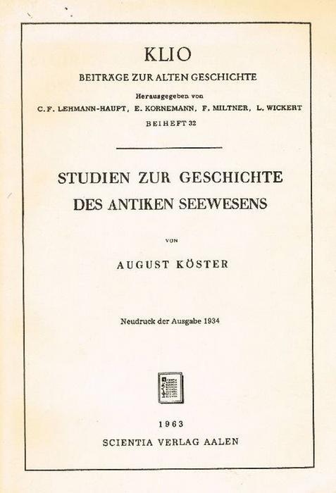 Studien zur Geschichte des antiken Seewesens