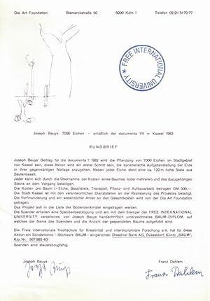 Joseph Beuys: 7000 Eichen - anläßlich der documenta VII in Kassel 1982 - RUNDBRIEF. [...