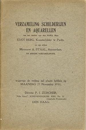 Verzameling Schilderijen en Aquarellen van het Atelier van den WelEd. Heer Joan Berg, Kunstschilder...