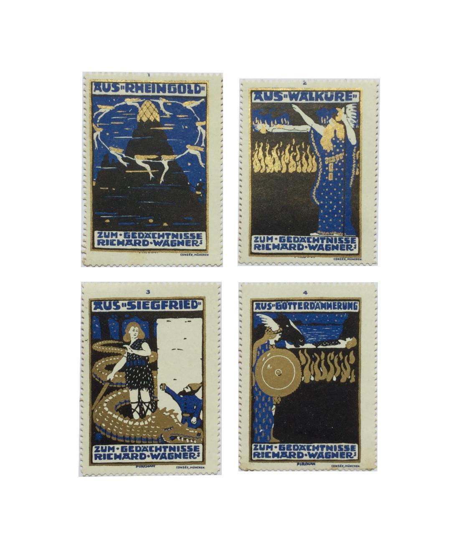 Der Ring des Nibelungen. 4 Cinderella Briefmarken zum Anlass von Richard Wagners 100sten Geburtstags. Pirchan, Emil (1884 - 1957).