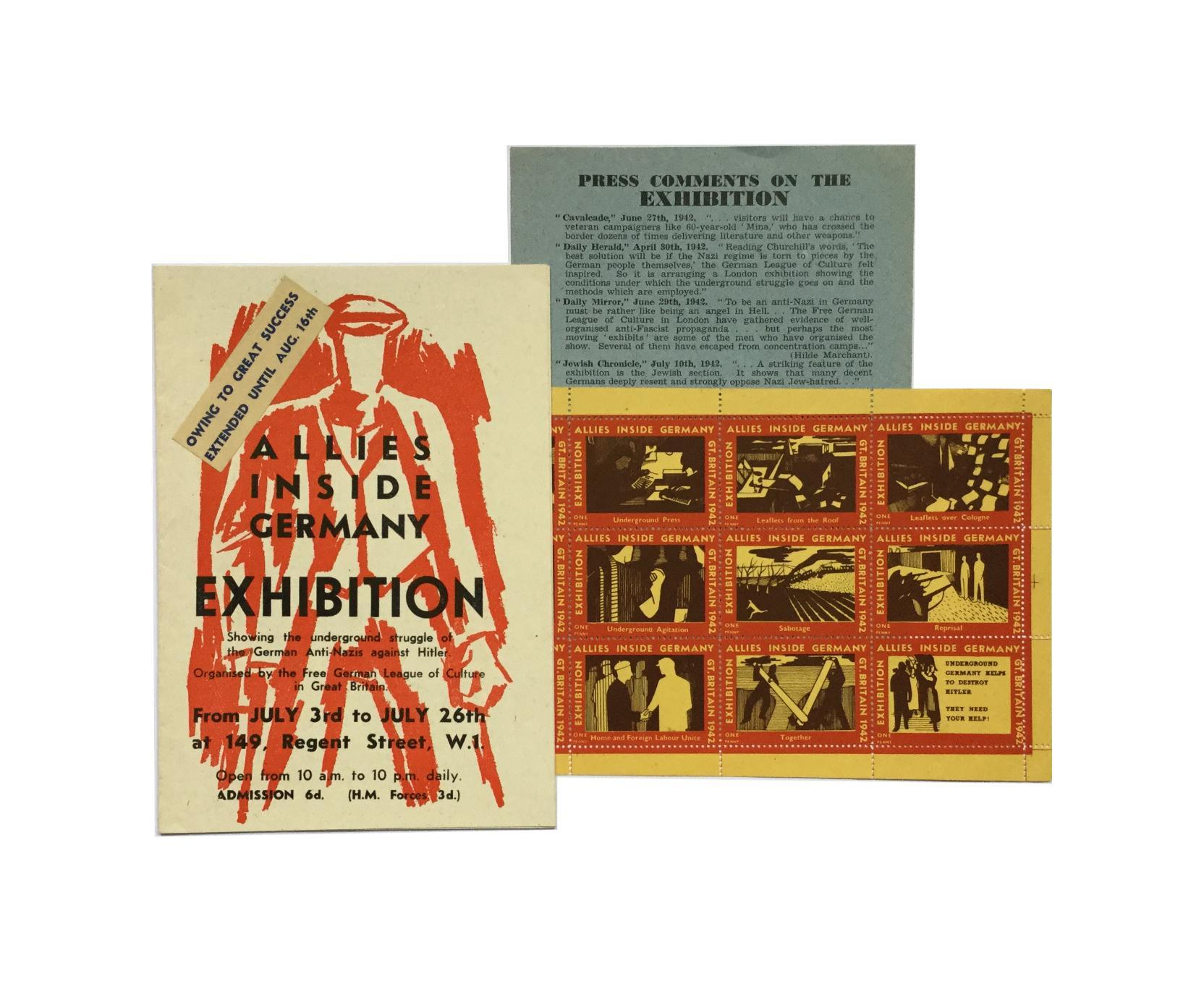 Allies inside Germany. Exhibition. Veranstaltungsprogramm mit Begleitheft zur Ausstellung und ein Bogen Cinderella Briefmarken.