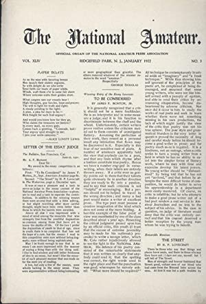NATIONAL AMATEUR, THE: OFFICIAL ORGAN OF THE NATIONAL AMATEUR PRESS ASSOCIATION. January 1922 (...
