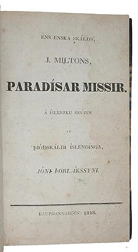 Ens Enska Skalds J Miltons Paradisar Missir MILTON