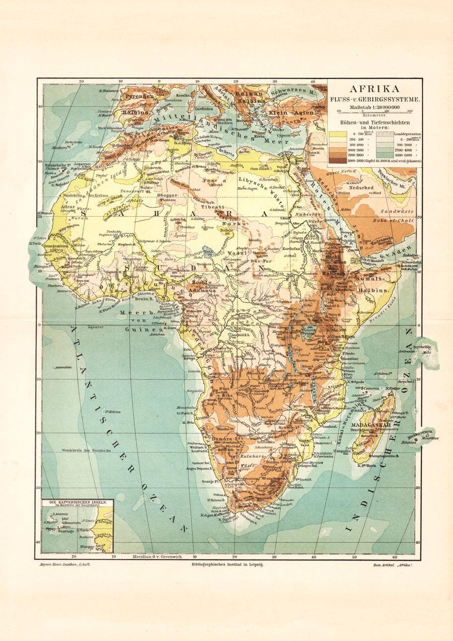 Deutschland Karte Flusse Und Gebirge.Alte Historische Landkarte Afrika Flusse