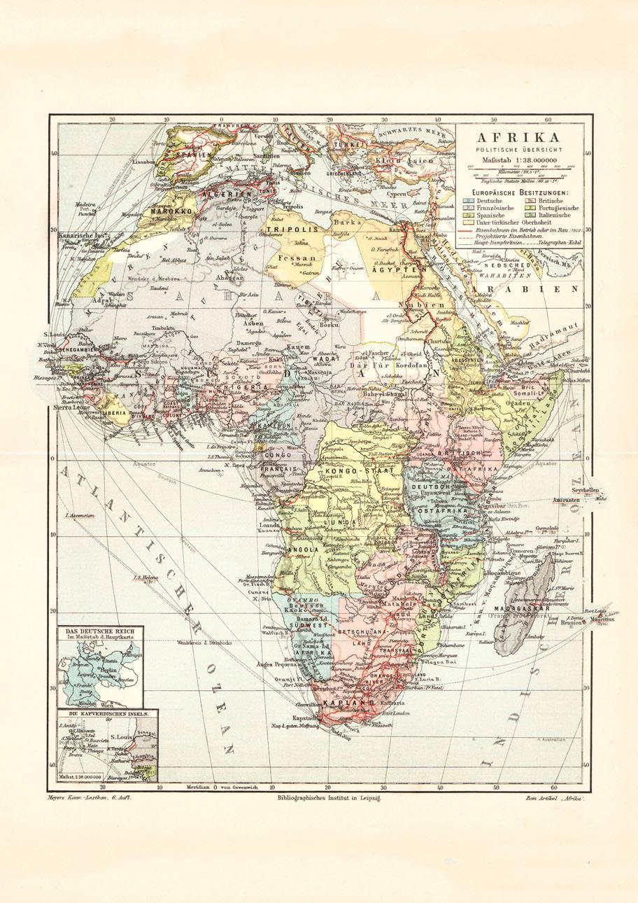 Karte Afrika.Alte Historische Landkarte Afrika Politische