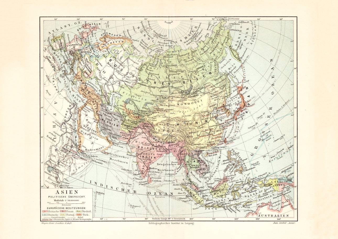 Politische Karte Asien.Alte Historische Landkarte Asien Politische