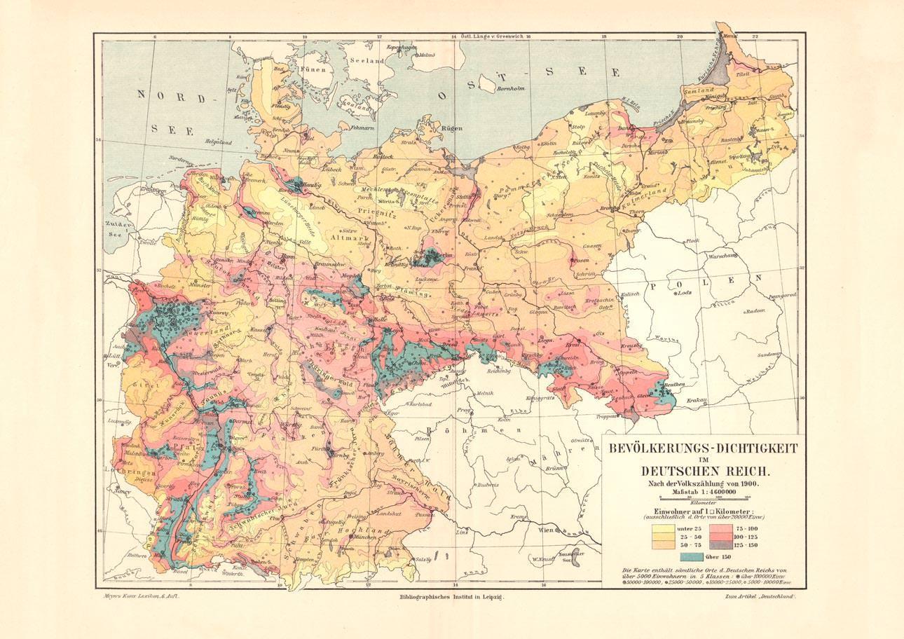Deutsches Reich Karte.Alte Landkarte Bevölkerungs Dichtigkeit