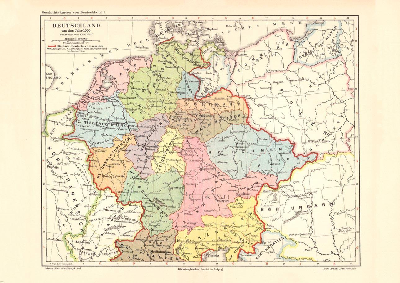 alte deutschland karte Alte historische Landkarte Deutschland um das Jahr 1.000 Karte  alte deutschland karte