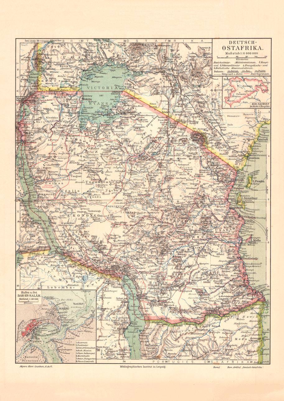 Landkarte Deutsch.Alte Historische Landkarte Deutsch Ostafrika