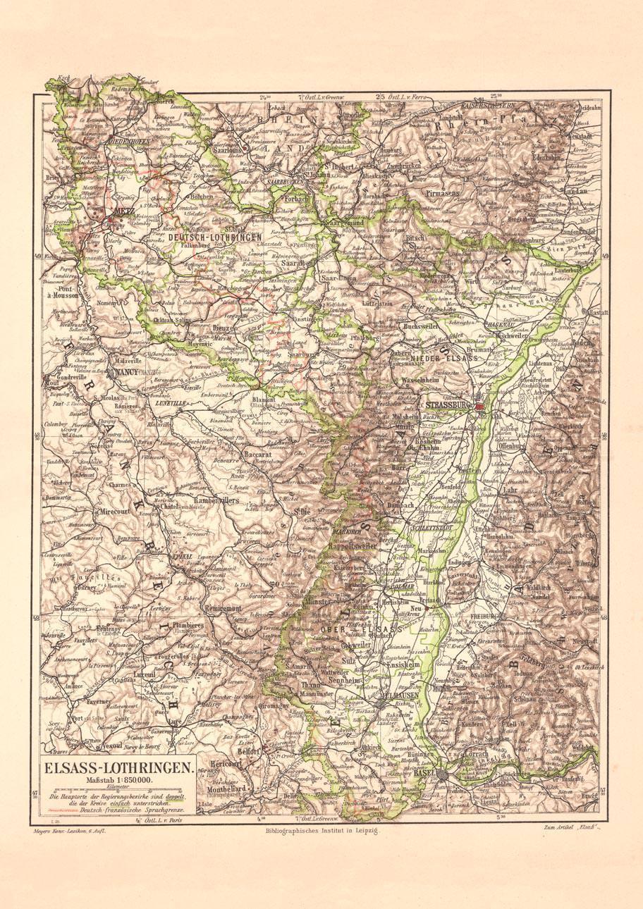 Elsass Auf Karte.Alte Historische Landkarte Elsass Lothringen Karte Lithographie 1903