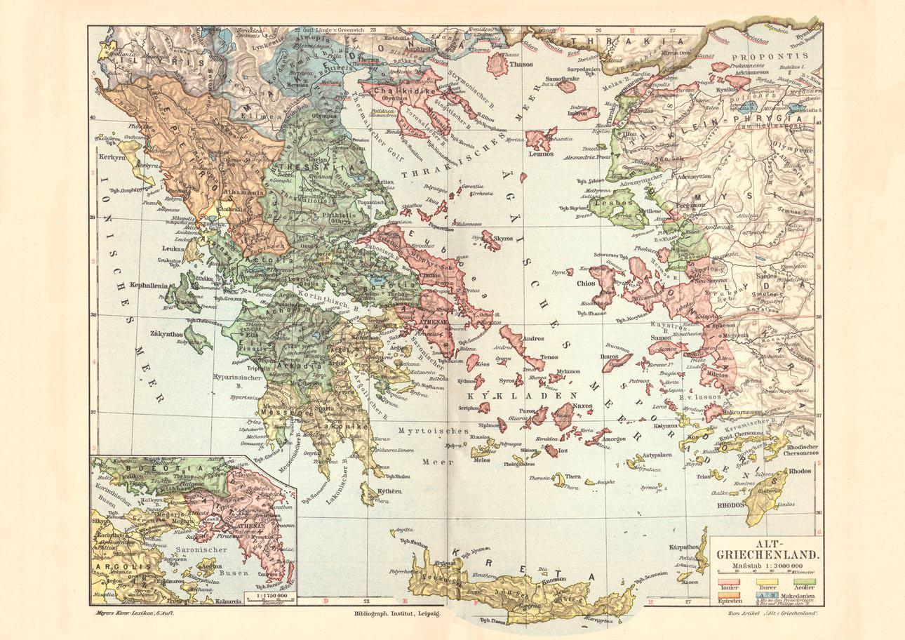 Karte Griechenland.Alte Historische Landkarte Alt Griechenland