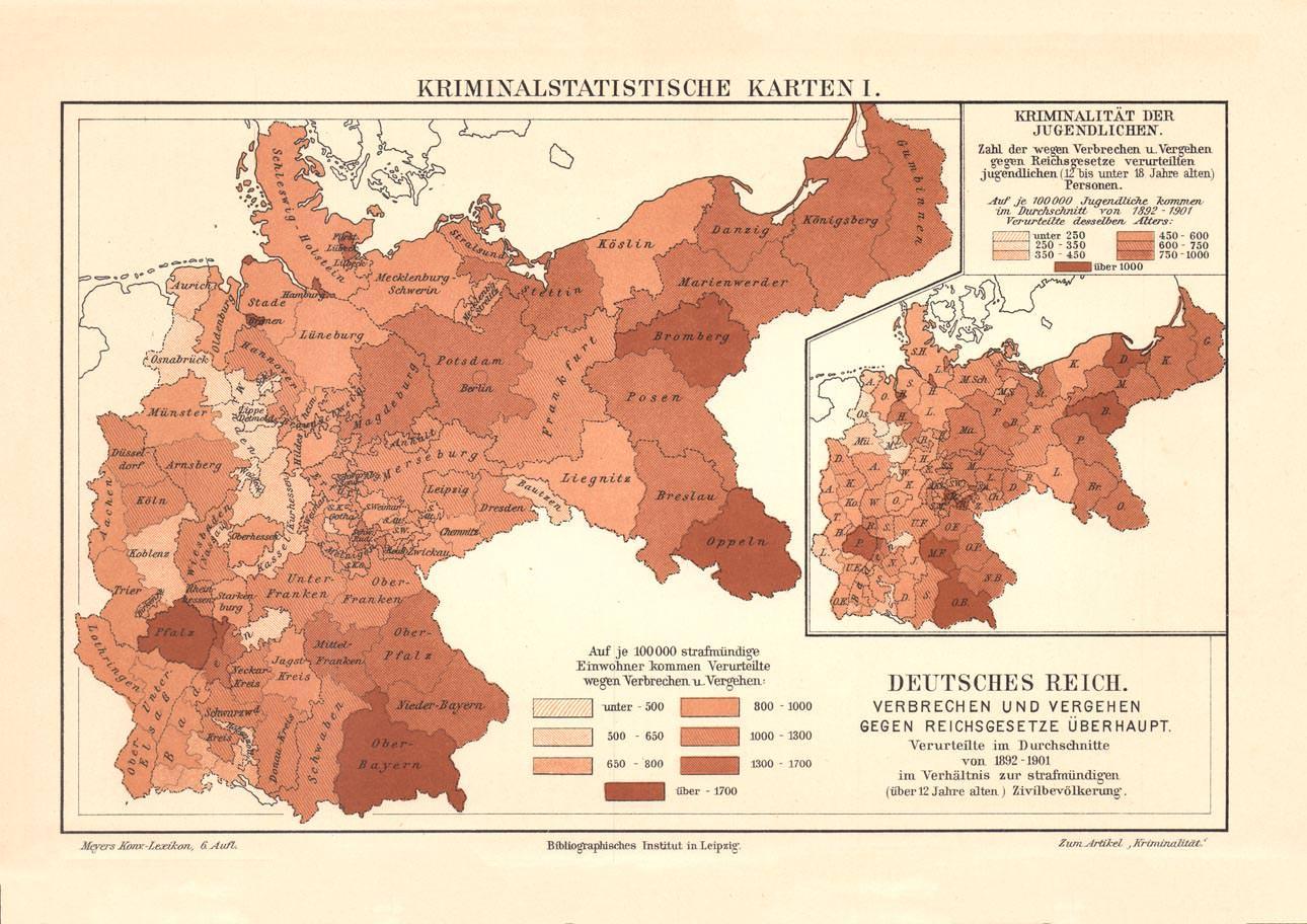 Alte Landkarte Kriminalstatistik Deutsches Reich I Karte