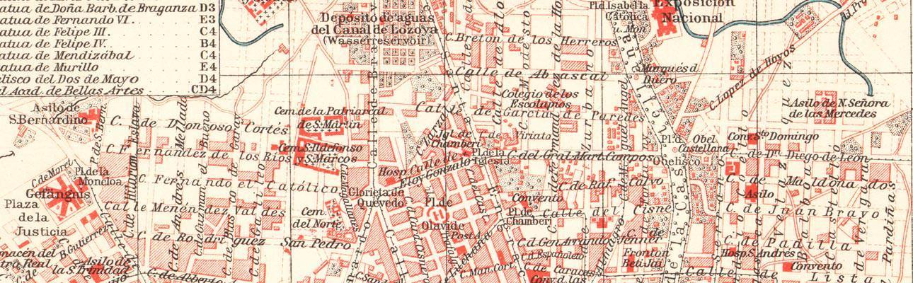 Alte historische Stadtkarte Madrid Stadtplan Lithographie 1906