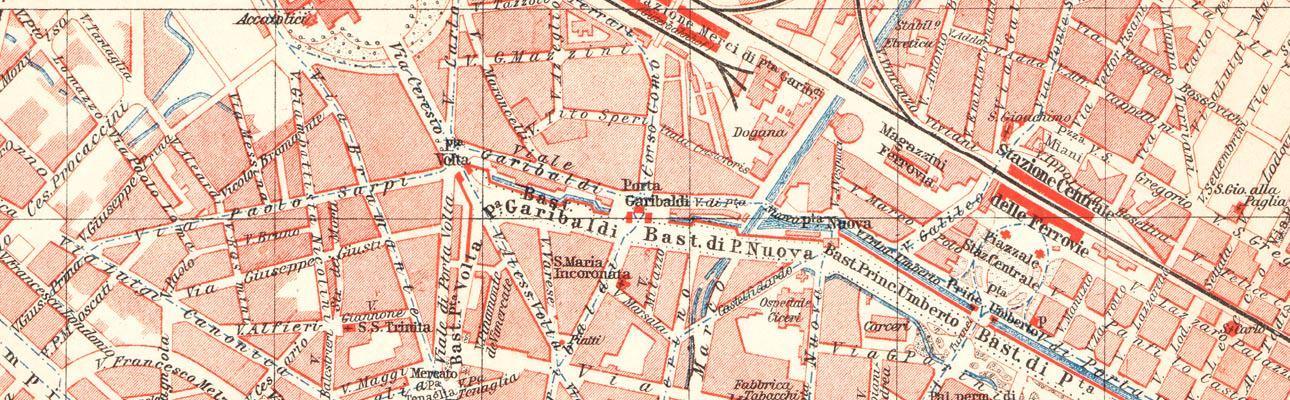 Alte historische Stadtkarte Mailand Stadtplan Lithographie 1906 Italien