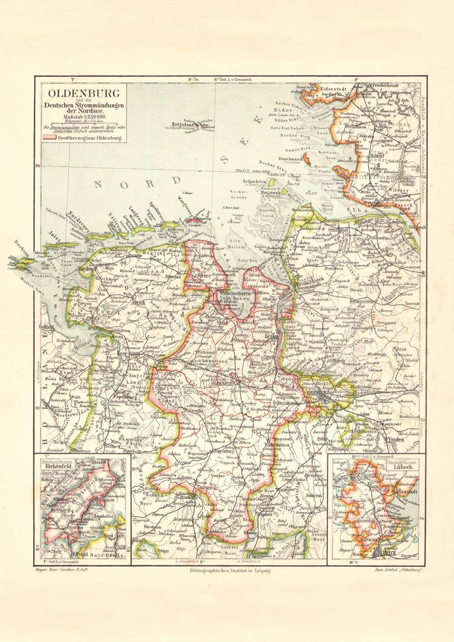 Deutsche Nordseeküste Karte.Alte Landkarte Oldenburg Deutsche