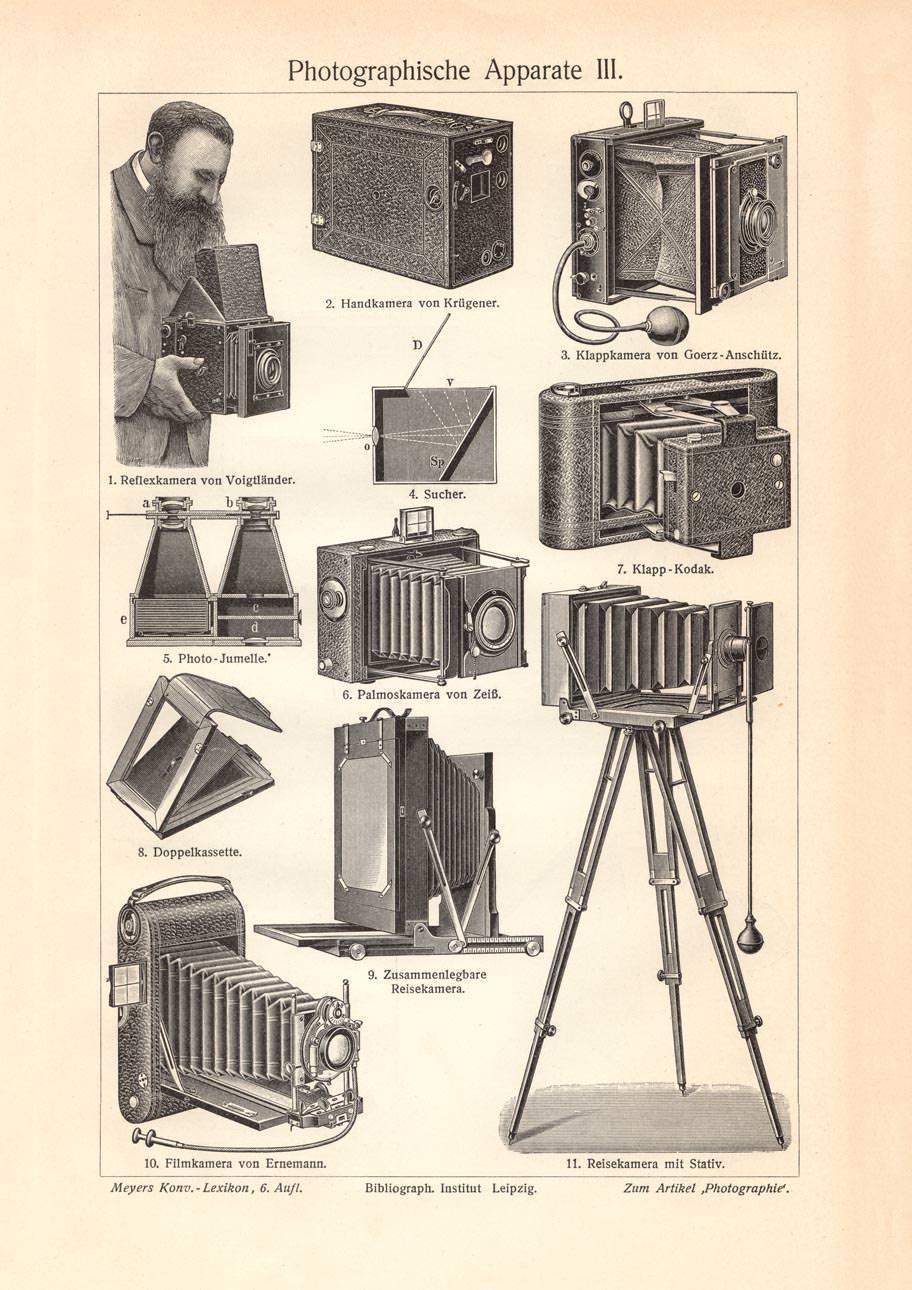 IV Holzstich 1906 Alter historischer Druck Photographische Apparate III